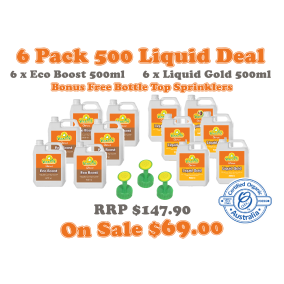 6 Pack Liquid 500ml + Botle Top Sprinkler