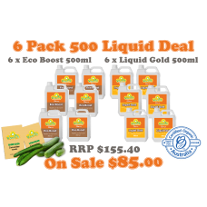 6 Pack Liquid 500ml Bonus pkts Burpless & Lebanese cucumber seeds