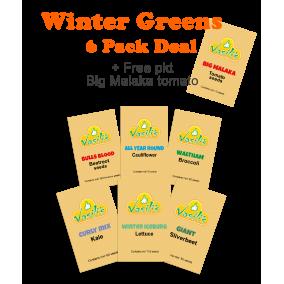 Winter Greens 6 Pack + Bonus pkt Big Malaka Tomato seeds
